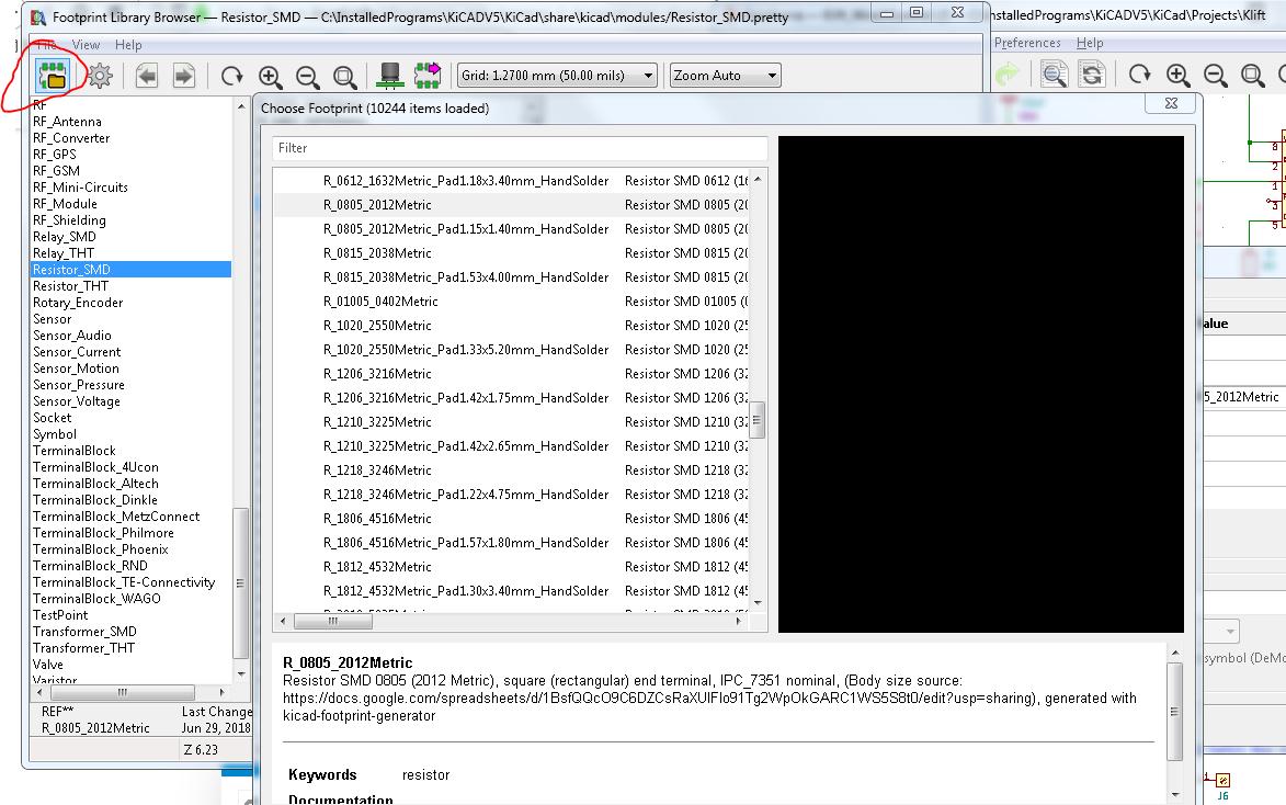 Footprints not showing in browser, nor chooser - Software