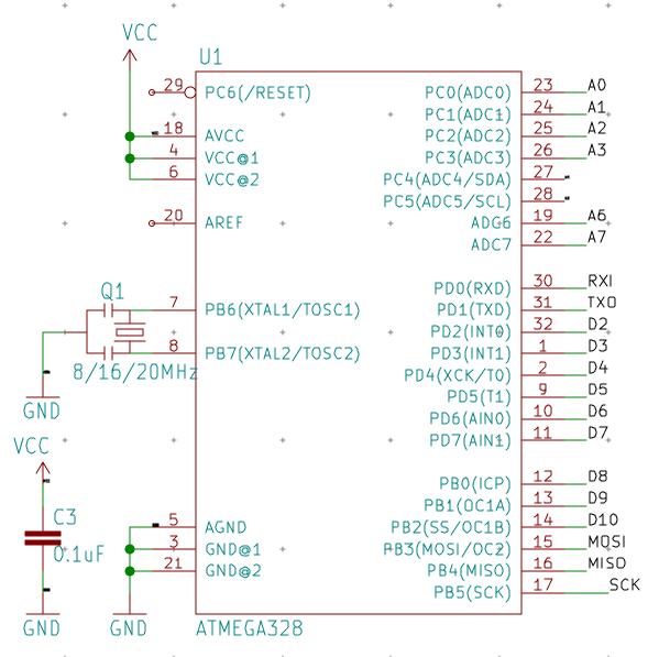 Arduino pro mini - simplify schematics - Schematic - KiCad ... on iphone schematic, robot schematic, wiring schematic, shields schematic, pcb schematic, ipad schematic, atmega328 schematic, servo schematic, msp430 schematic, wireless schematic, breadboard schematic, audio schematic, atmega32u4 schematic, apple schematic,